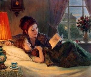 Няня с ребенком перед сном