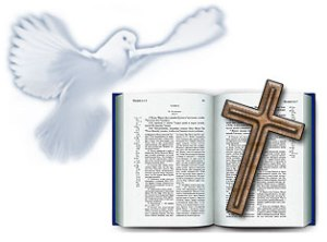 Крест Библия и голубь